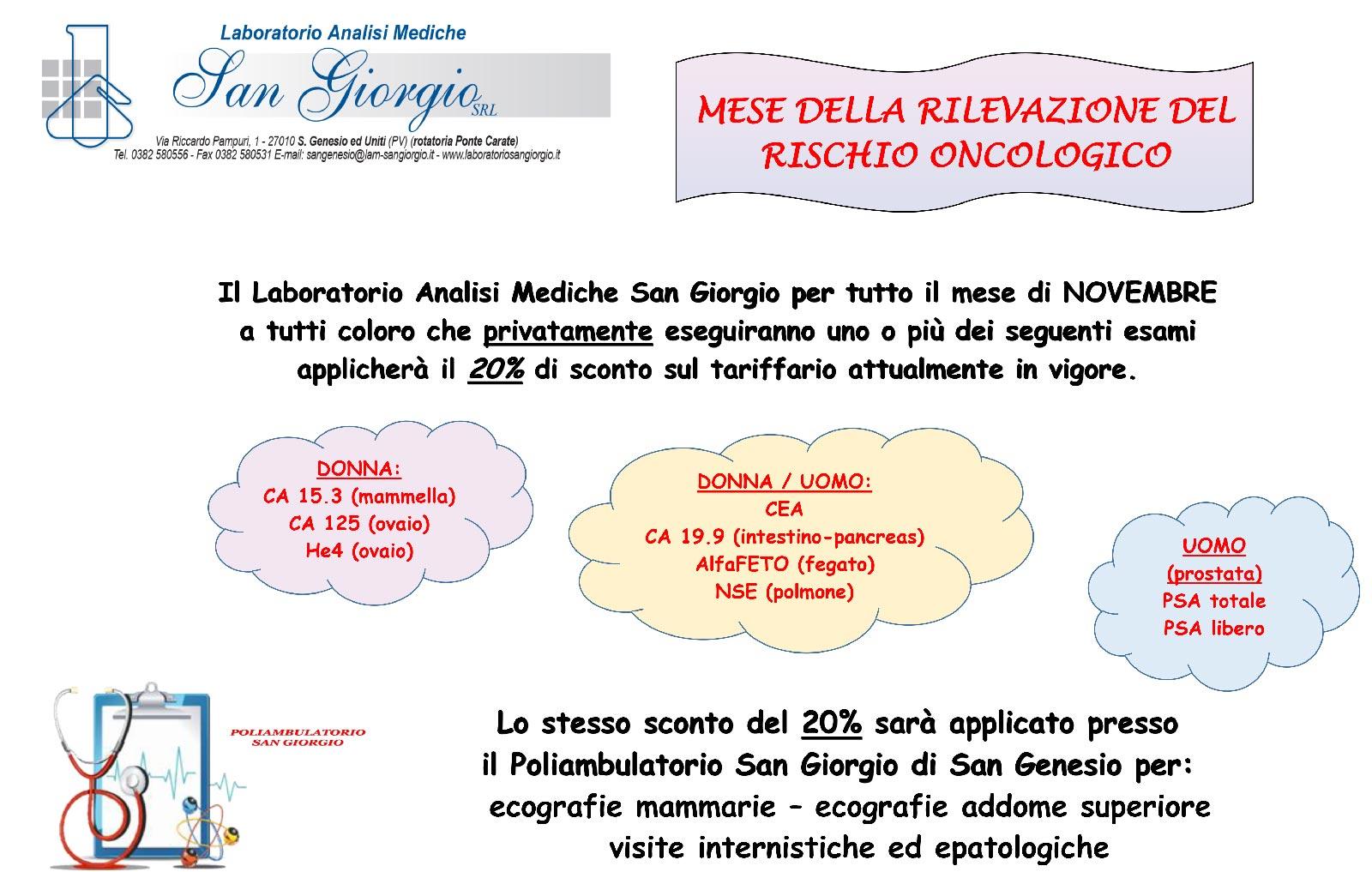 articoli-san-genesio-uniti-laboratorio-analisi-mediche-san-giorgio-mese-rischio-oncologico